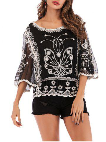 Batwing Mesh Sleeve Embroidered Blouse