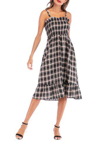 Shirred A Line Plaid Casual Dress