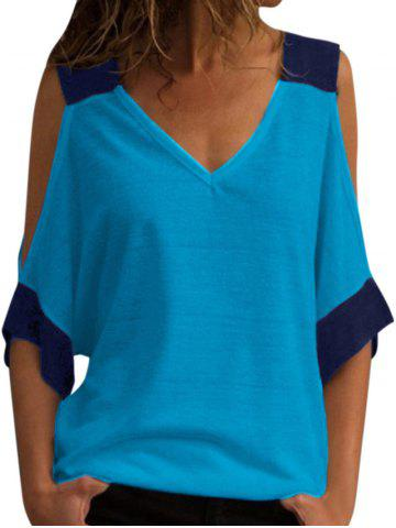 V Neck Two Tone Cold Shoulder Top