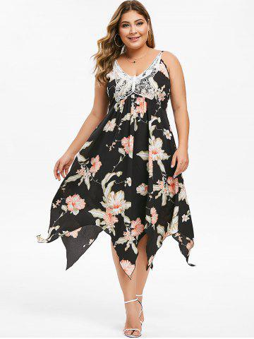 Plus Size Butterfly Lace Handkerchief Floral Dress