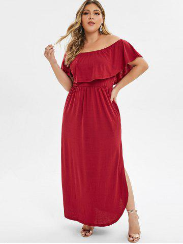 75aac40dee9 Overlay Off Shoulder Slit Plus Size Dress
