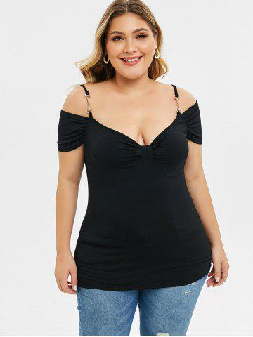 Plus Size Cold Shoulder Front Knot Cami T-shirt