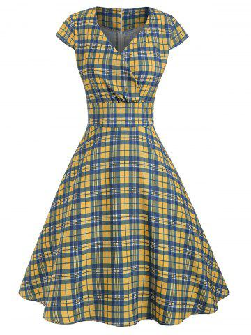 Vintage Plaid Surplice A Line Dress