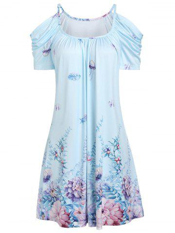 Open Shoulder Flower Ruched Casual Dress