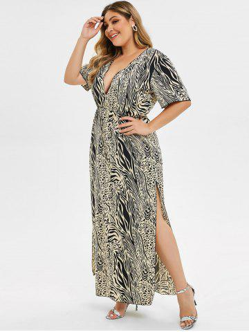 Plus Size Low Cut Leopard Print High Slit Dress
