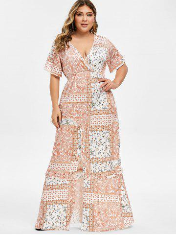 5d135e31244 Plus Size Floral Front Slit Maxi Dress