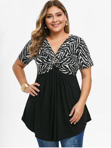 Plus Size Knotted Zebra Stripe T-shirt