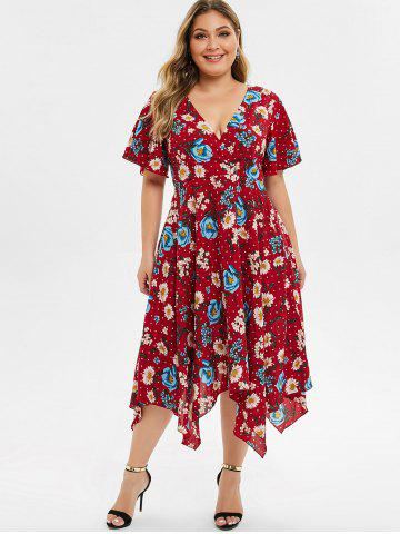 Plus Size Low Cut Floral Midi Handkerchief Dress