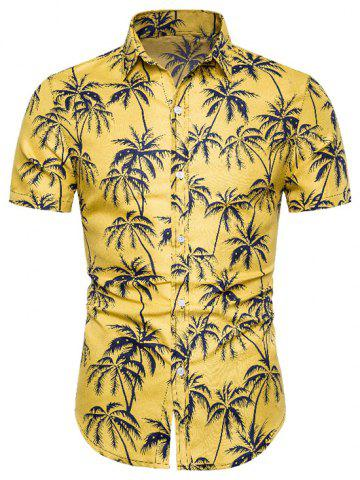 Coconut Tree Print Button Up Shirt - YELLOW - XL