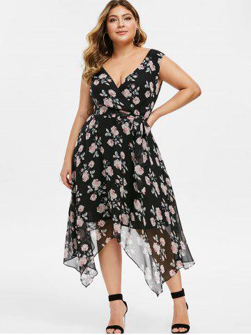 Plus Size Plunge Floral Midi Handkerchief Dress