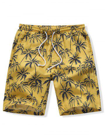 Short de Plage Hawaiien Cocotier Imprimé  - YELLOW - M