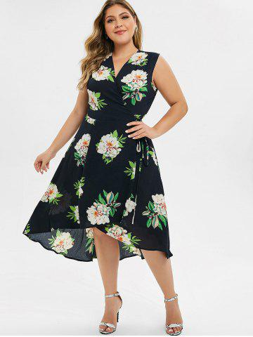 Plus Size High Low Surplice Dress