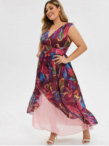 Plus Size Plunge Printed Overlay Maxi Dress