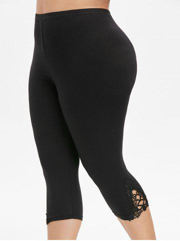Plus Size Lace Trim Capri Leggings