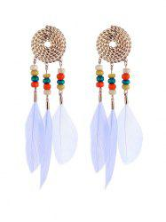 Bohemian Beaded Feather Earrings -
