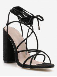 Ankle Wrap Strappy Chunky Heel Sandals -