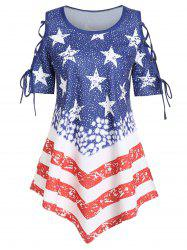 American Flag Asymmetric Lace-up Tee -