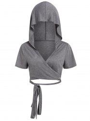 Plus Size Criss Cross Hooded Wrap Cropped T-shirt -