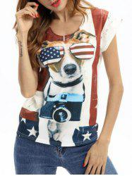 Cap Sleeves Dog American Flag Print Tee -