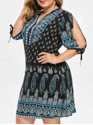 Plus Size Split Sleeve Paisley Print Dress -