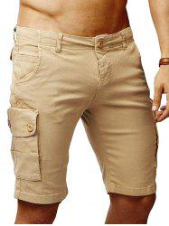 Solid Color Flat Front Cargo Shorts -