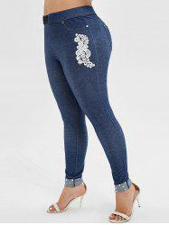Plus Size Elastic Waisted Embroidered Applique Pants with Rivets -