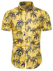Coconut Tree Print Button Up Shirt -