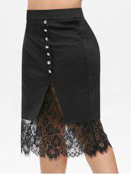 Plus Size Buttons Lace Panel Bodycon Skirt -