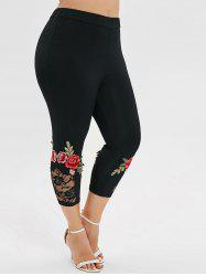 Plus Size Embroidered Capri Leggings -