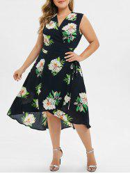 Plus Size High Low Surplice Dress -