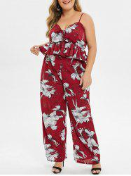 Plus Size Floral Print Top With Palazzo Pant Two Piece Outfits -