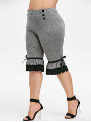 Plus Size Contrast Flounce Cropped Leggings -