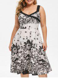 Plus Size Sleeveless Floral Print Dress -