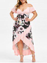 Plus Size High Low Cold Shoulder Ruffle Dress -