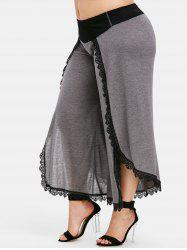 Plus Size Overlay High Slit Palazzo Pants -