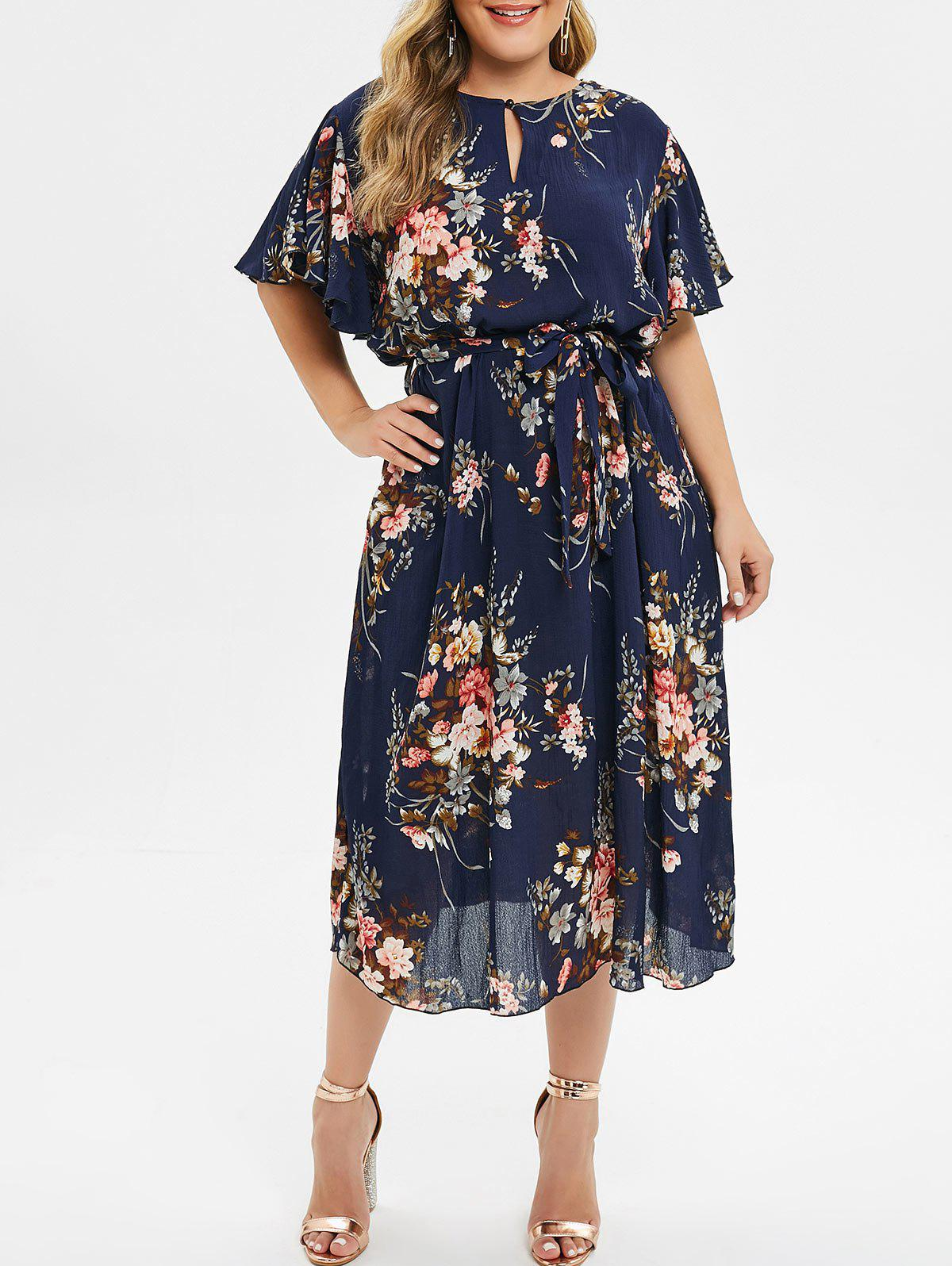 Cheap Plus Size Floral Midi Dress