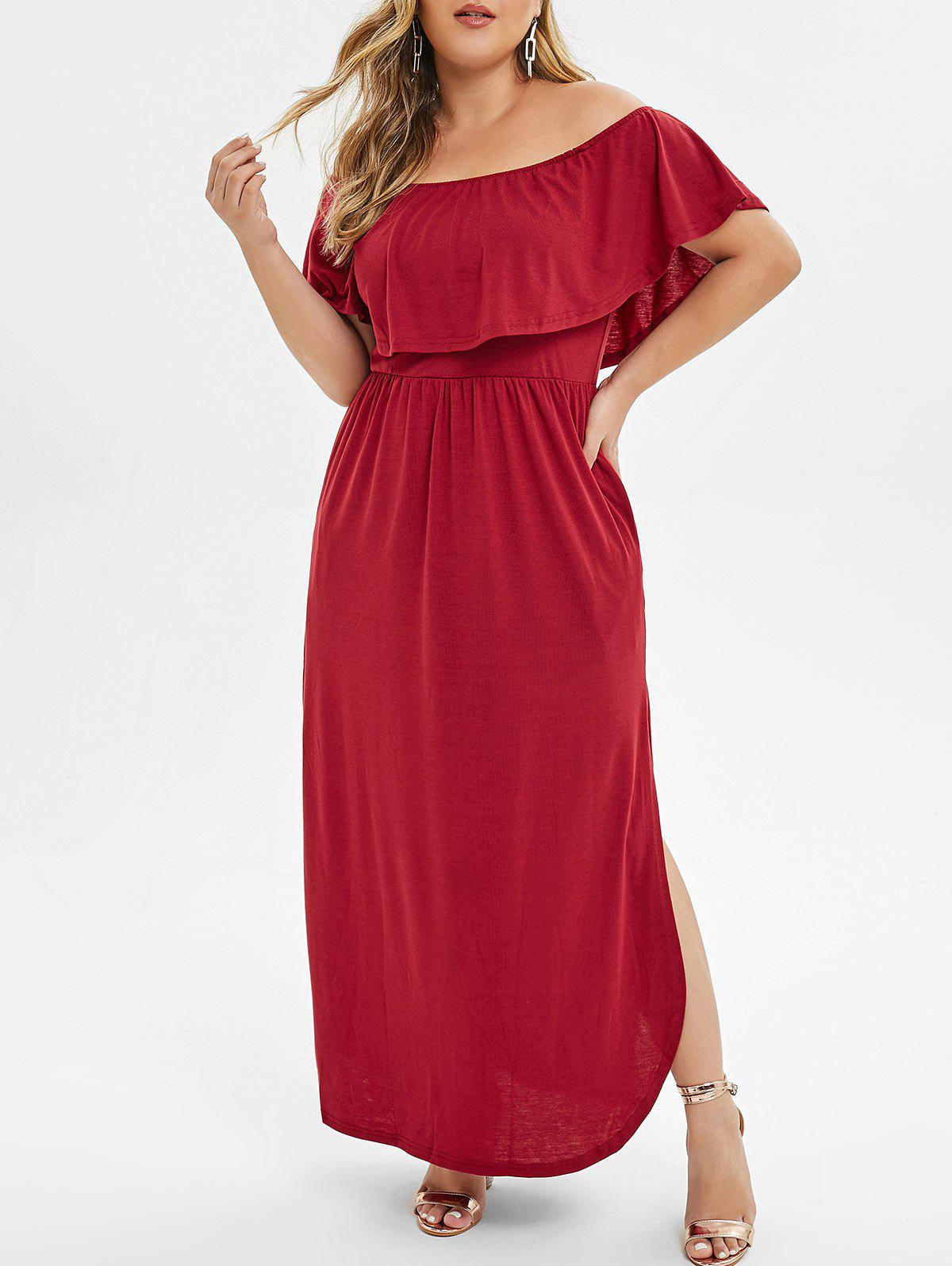 ba2608de221 35% OFF  Overlay Off Shoulder Slit Plus Size Dress