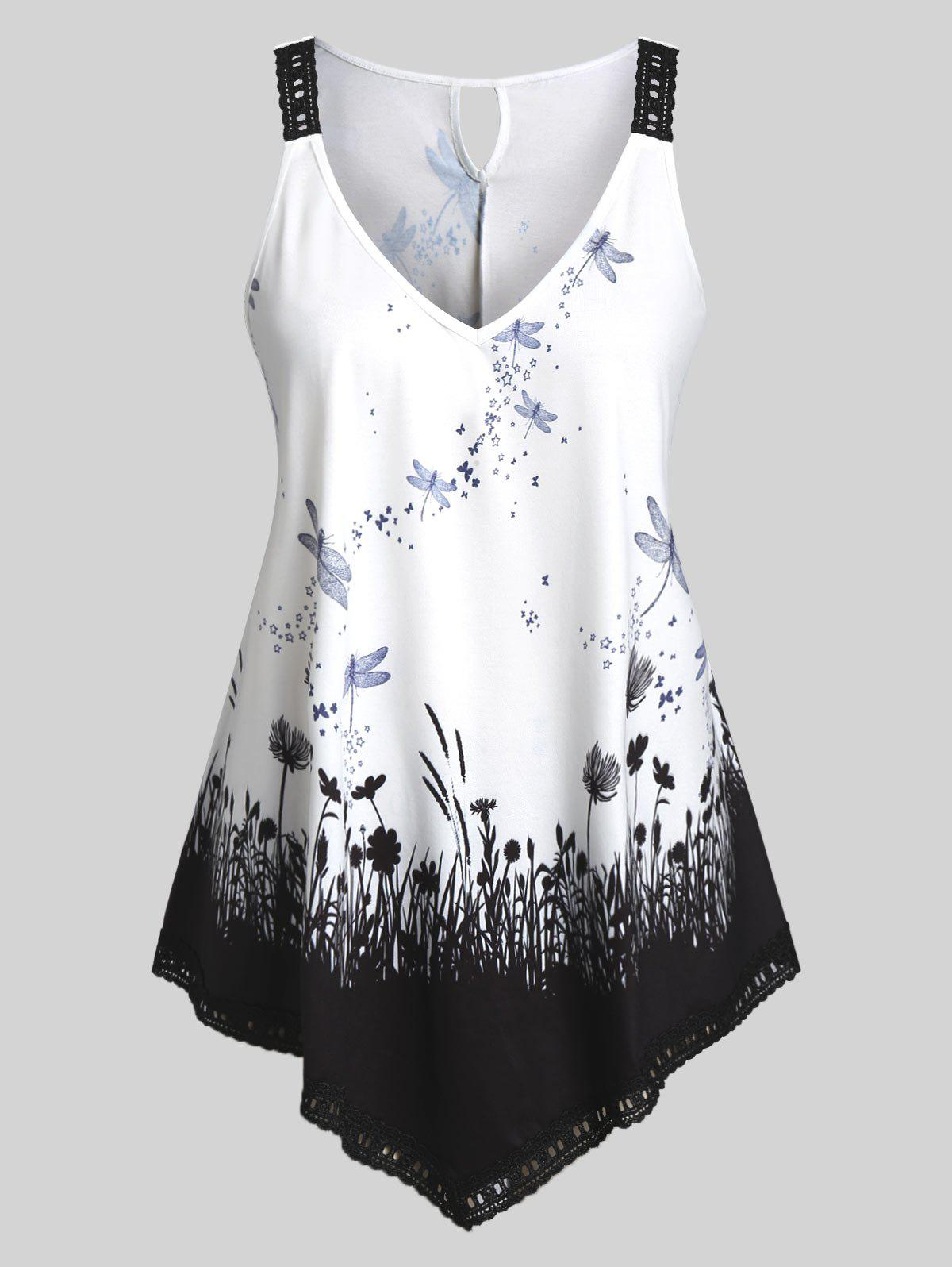 Plus Size Asymmetrical 3D Print Tank Top