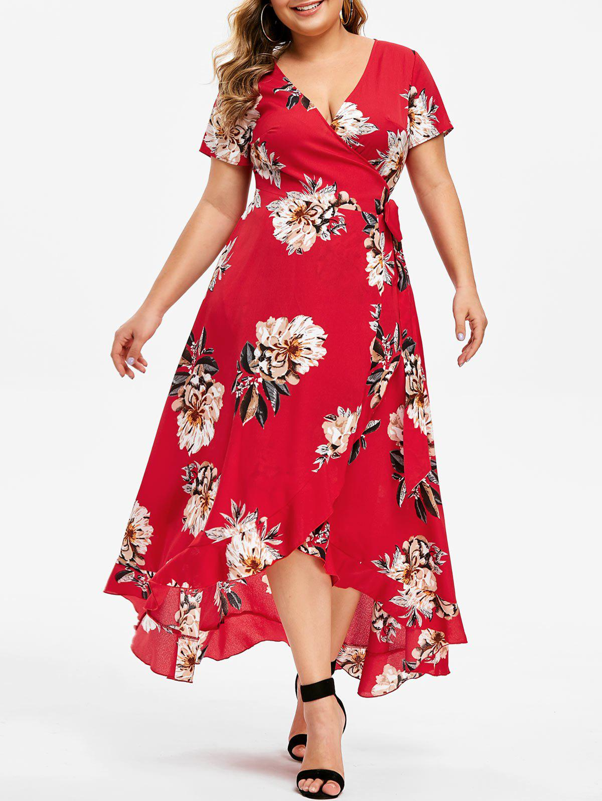 Plus Size Surplice High Low Printed Dress, Red