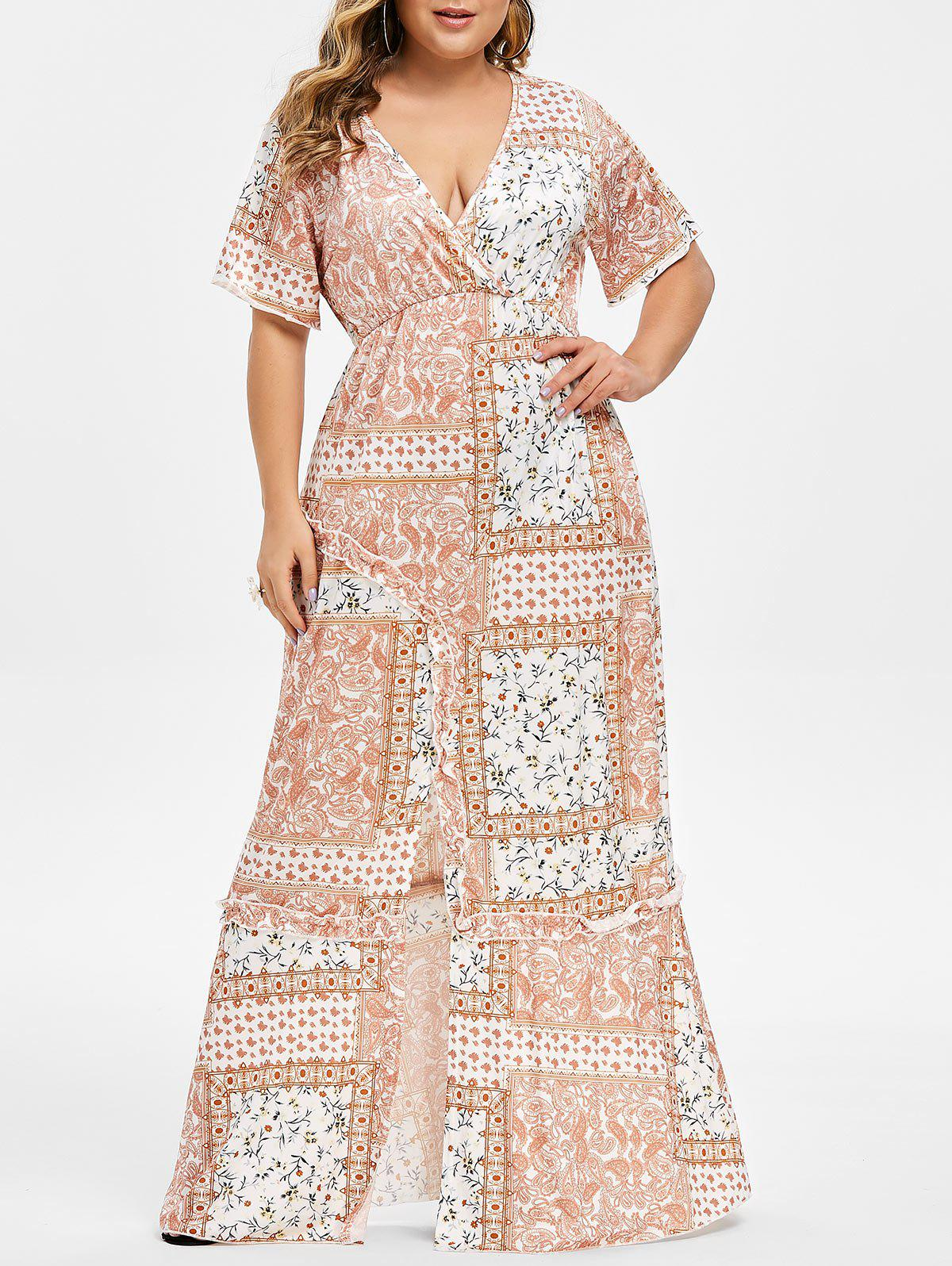 Shop Plus Size Floral Front Slit Maxi Dress