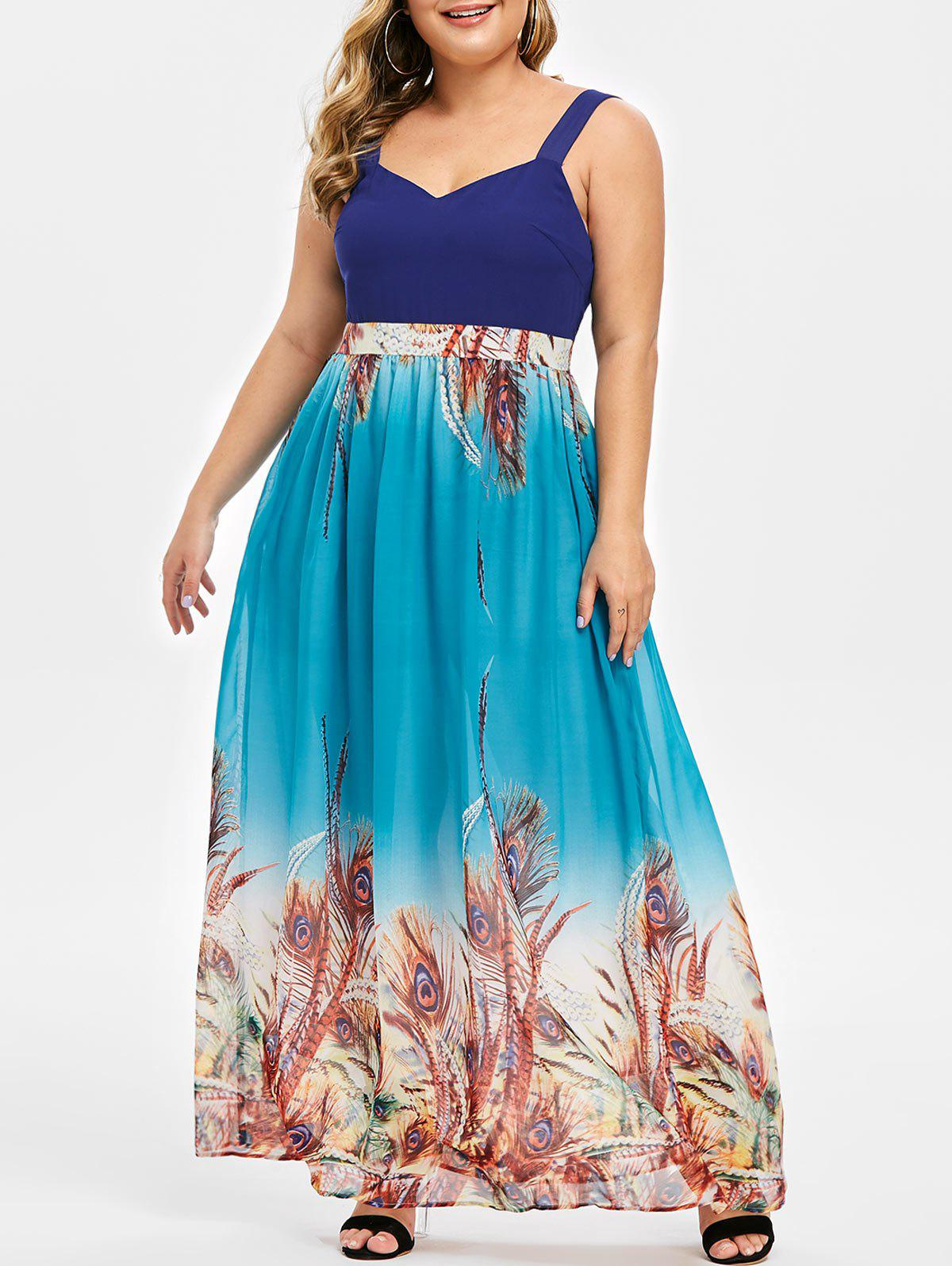 Affordable Plus Size Sweetheart Neck Feather Print Maxi Dress