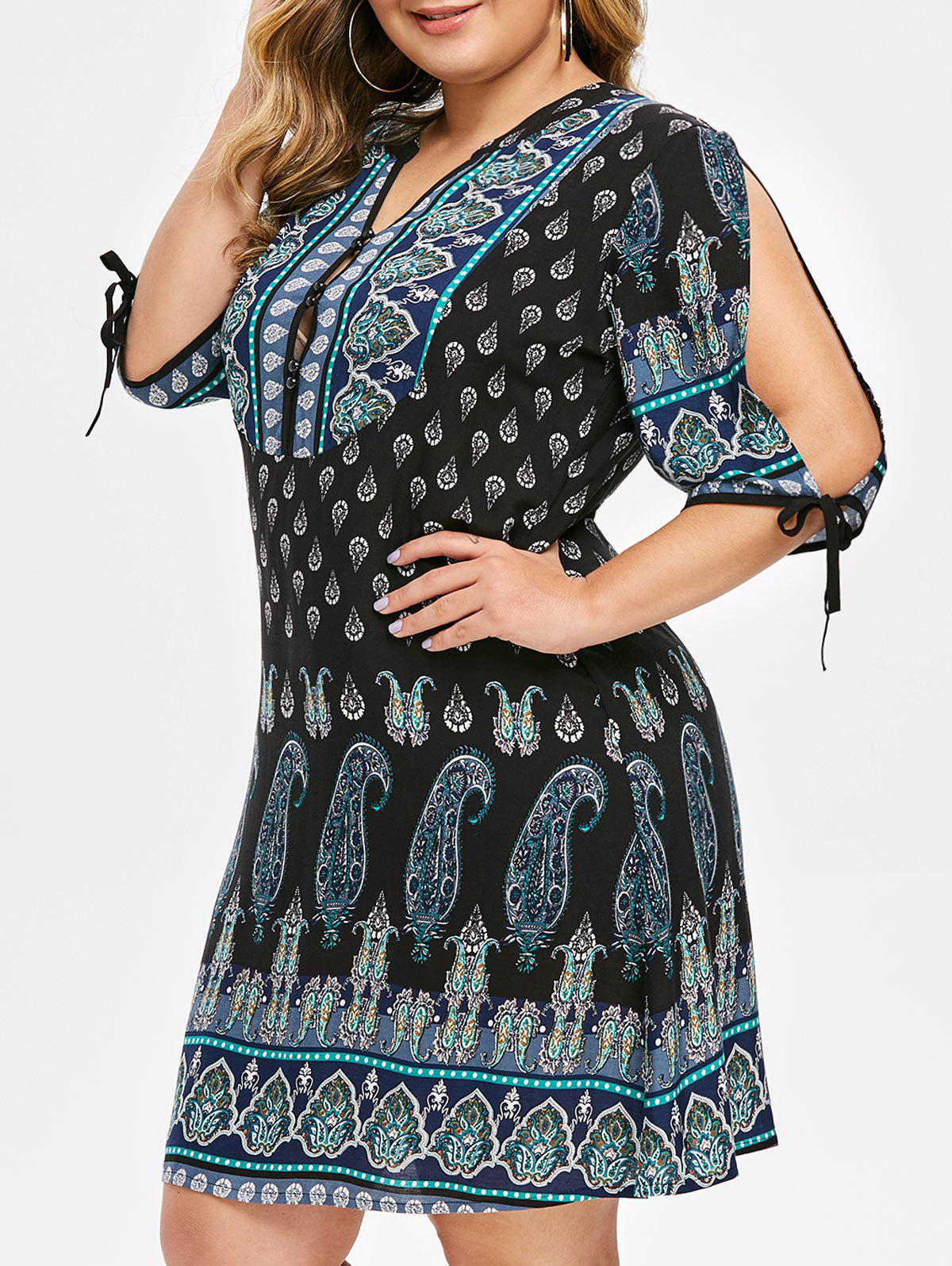 Chic Plus Size Split Sleeve Paisley Print Dress