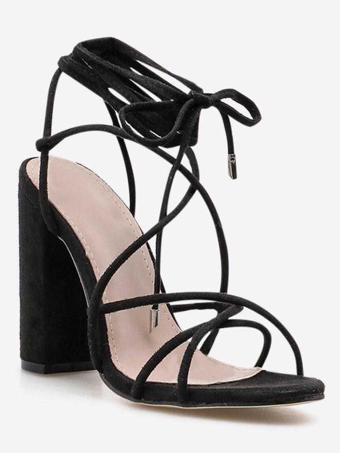 Unique Ankle Wrap Strappy Chunky Heel Sandals