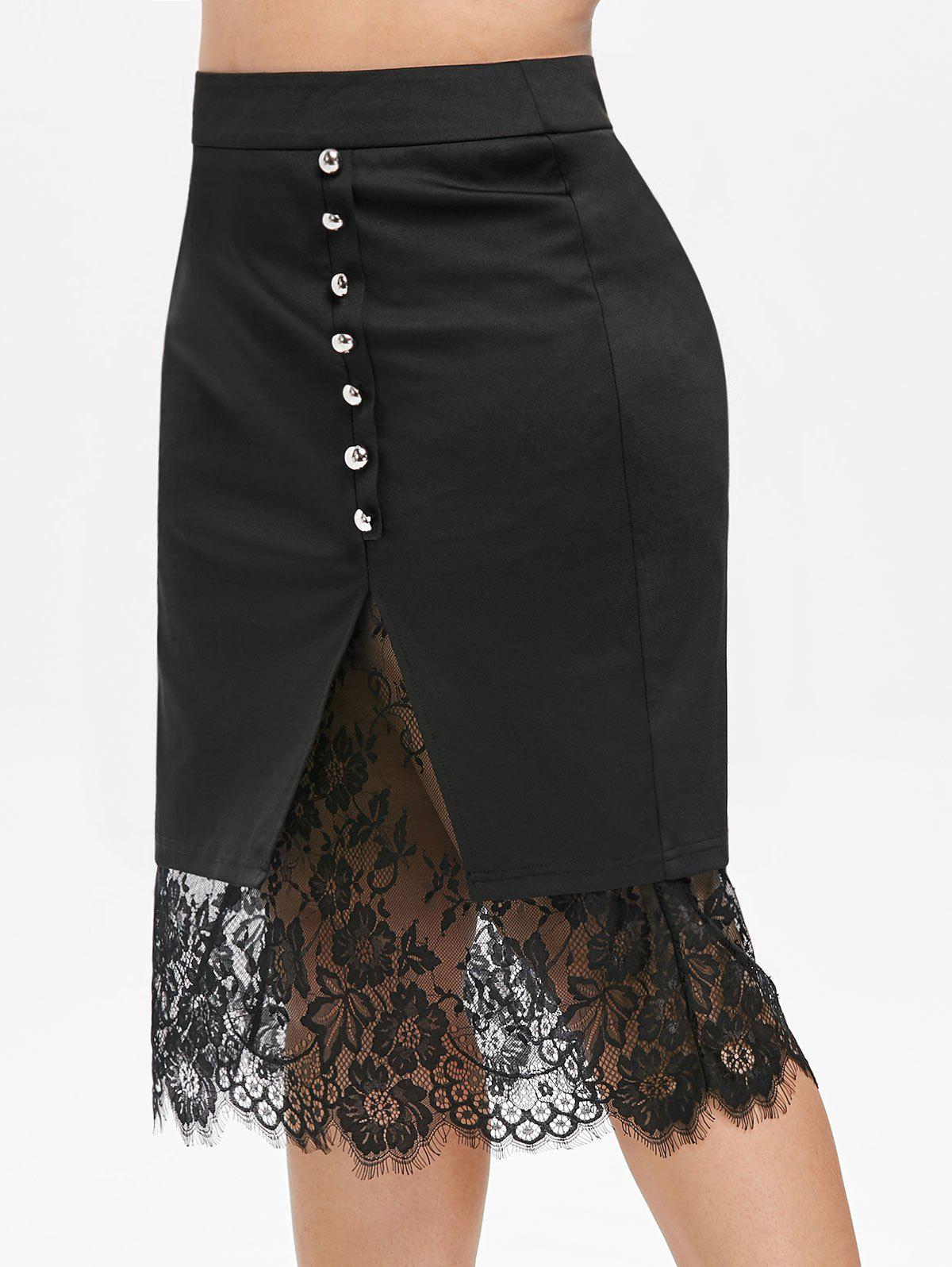 Fancy Plus Size Buttons Lace Panel Bodycon Skirt