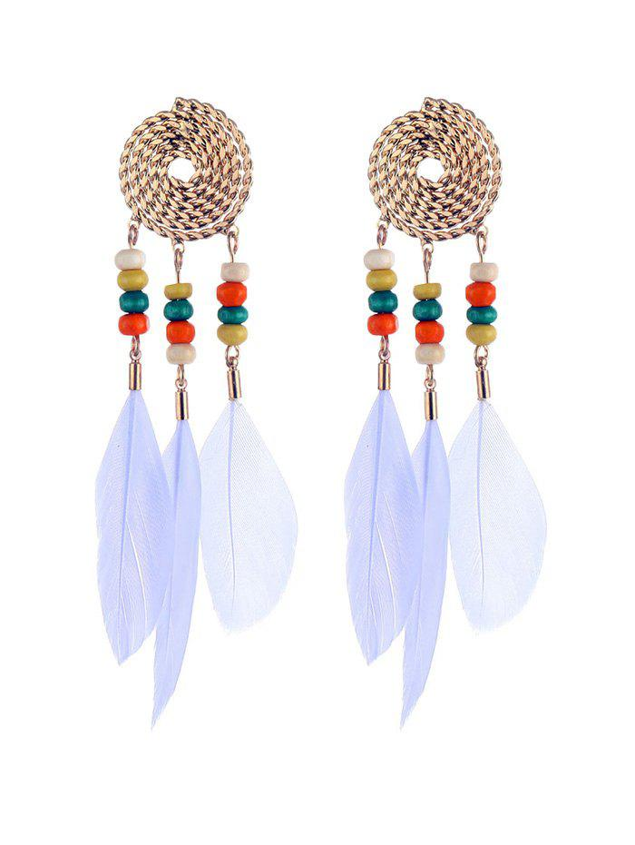 Trendy Bohemian Beaded Feather Earrings