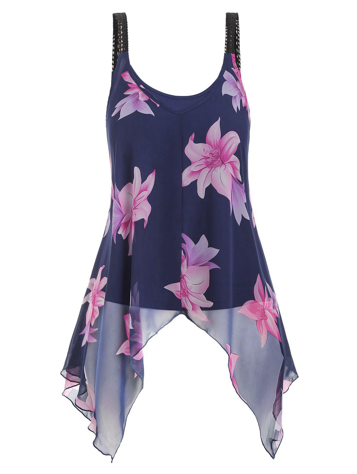 Sale Plus Size Camisole and Floral Handkerchief Tank Top