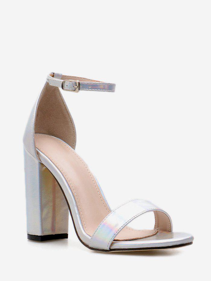 Buy Chunky Heel Iridescent PU Leather Sandals