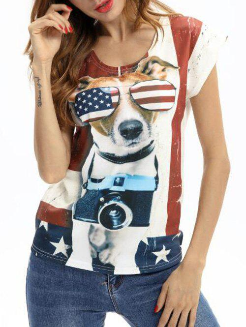 Cheap Cap Sleeves Dog American Flag Print Tee