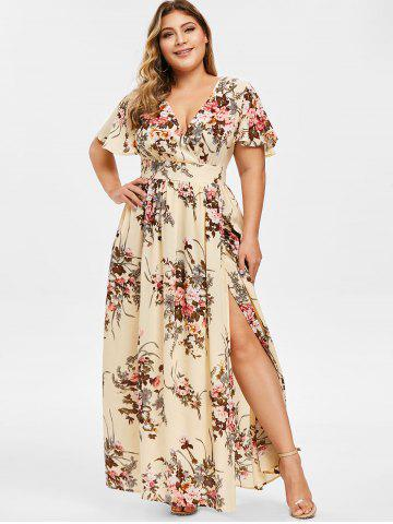 54a4791cdb8 Plus Size Low Cut Split Floral Maxi Dress