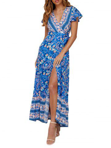 Flower Plunging Slit Bohemian Dress